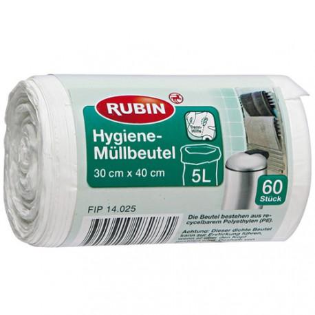 Worki na śmieci Rubin 5 L, 60 sztuk.